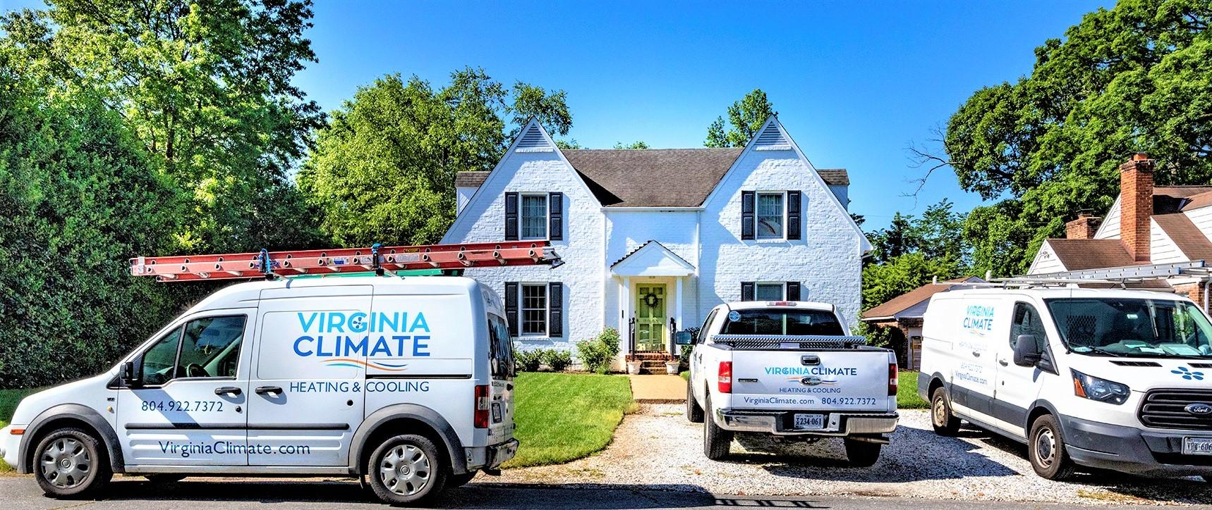 Virginia Climate Heating Van in front of home